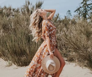 dress, floral, and hat image