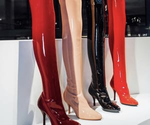 black, heels, and latex image