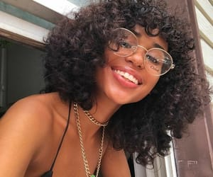 curly hair, girls, and glasses image