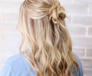 blond hair, hair, and bun image