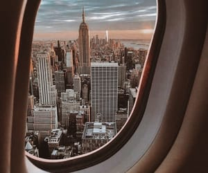 travel, new york, and airplane image