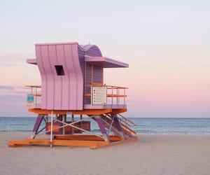 beach, sky, and Miami image