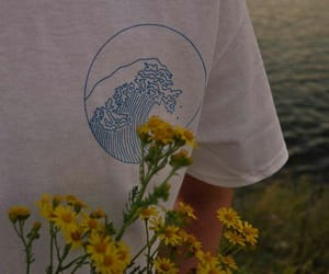 flowers, yellow, and waves image