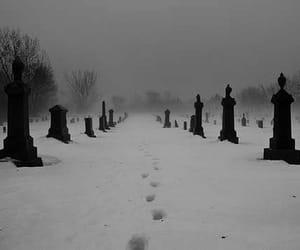 cemetery, snow, and black image