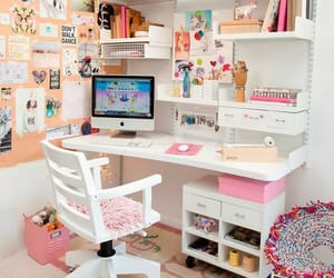desk, study, and pink image