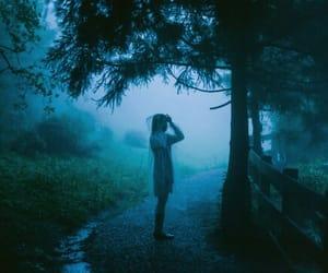 girl, rain, and blue image