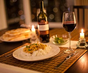 food, wine, and dinner image