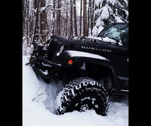 black, jeep wrangler, and snow image