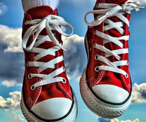 clouds, red converse, and shoes image
