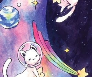 cat, space, and kawaii image