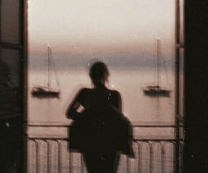 sunset, vintage, and girl image