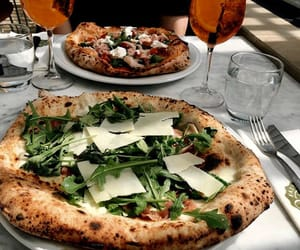 pizza, drinks, and food image