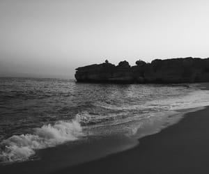 beach, black and white, and portugal image
