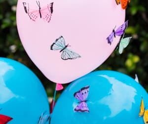 balloons, blue, and butterflies image