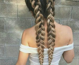 braided, hair, and long image