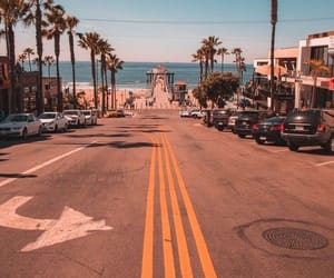 california, beach, and palm trees image