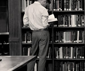 book, boy, and library image