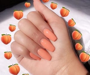 nails, peach, and hands image