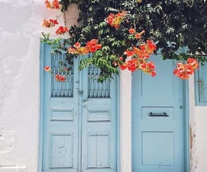 flowers, blue, and Greece image