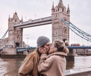 couple, kiss, and tower bridge image