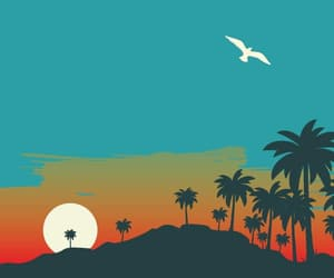 background, palm trees, and sketch image