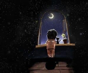 night, stars, and moon image