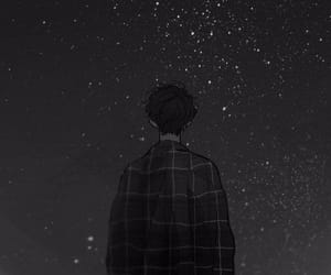 boy, night sky, and stars image