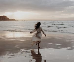 sea, beach, and girl image