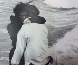 love, sea, and black and white image