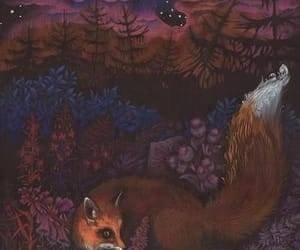 art, animals, and foxes image