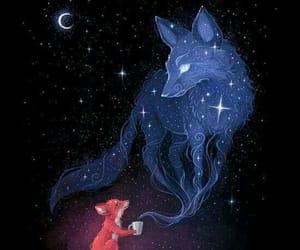fox, night, and art image