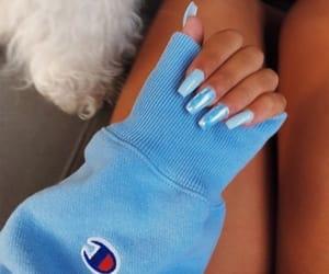 blue, nails, and acrylic image