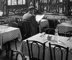 black and white, man, and restaurant image