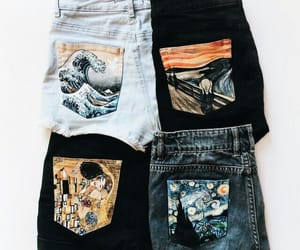 art, jeans, and shorts image