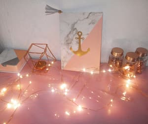 rose gold, lights, and notebook image