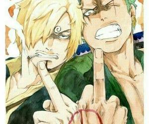 one piece, zoro, and sanji image