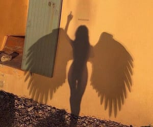 angel, girl, and shadow image