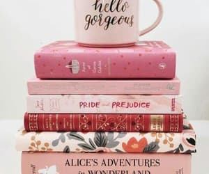 book, pink, and coffee image