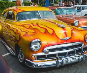 cars, flames, and vintage image