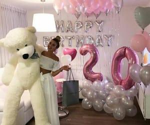 girl, birthday, and balloons image