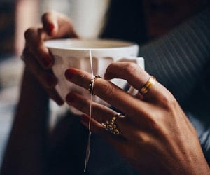 tea, rings, and coffee image