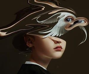 art, bird, and crying image