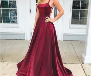 a-line prom dresses, satin evening dresses, and backless prom gown image