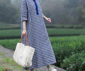 blue dress, women dress, and long sleeve dress image