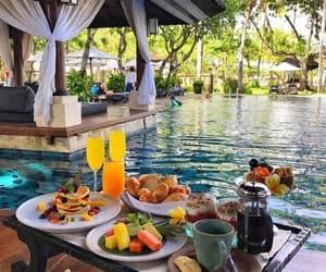 food, breakfast, and pool image