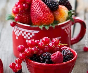 cup, fruit, and red image