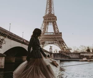 paris, dress, and eiffel tower image