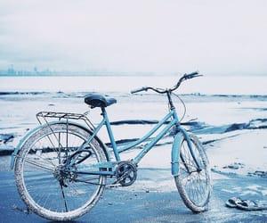 beach, bike, and light blue image