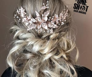 blonde, curly, and flowers image