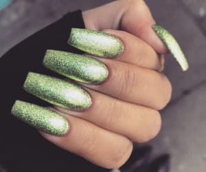 girly, green, and glitter nails image